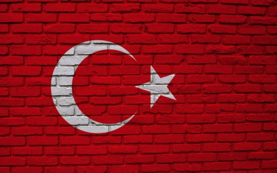 Turkish Flag on Brick Background