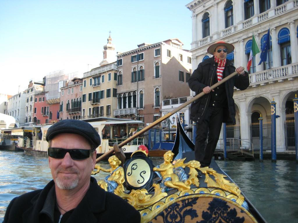 David in gondola, Venice