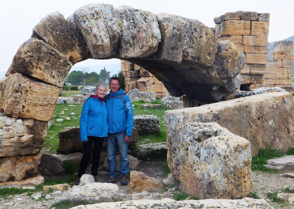 Us at Hierapolis arch, Turkey