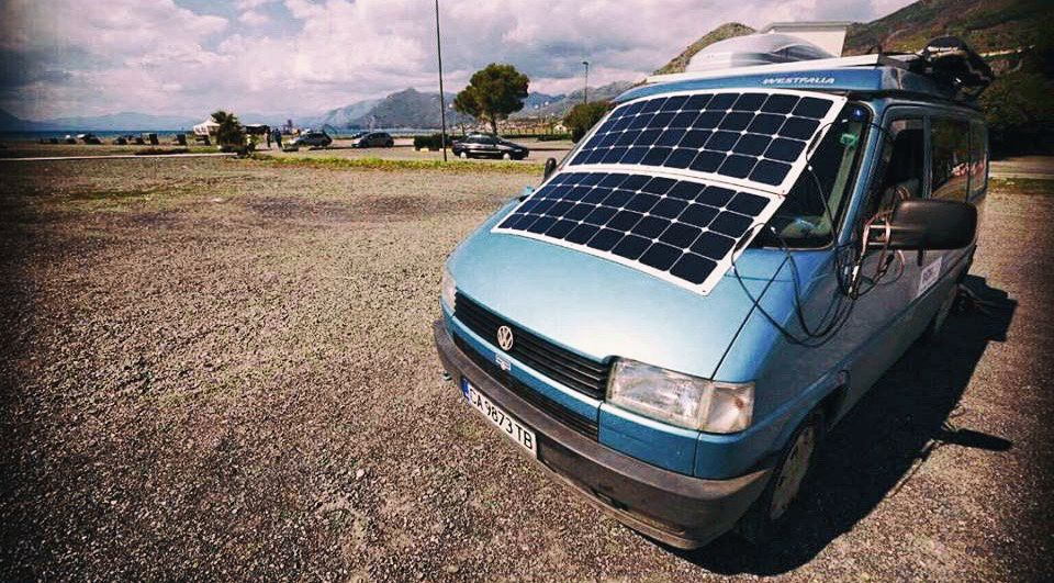 T4 VW Westfalia campervan with flex solar panels.