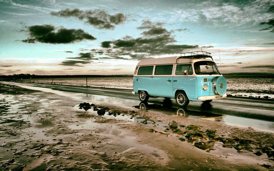 Van on a Rainy Road
